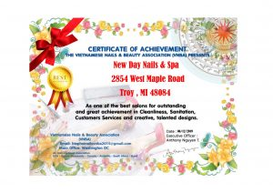 New Day Nails Spa Leon 1671 Certficate